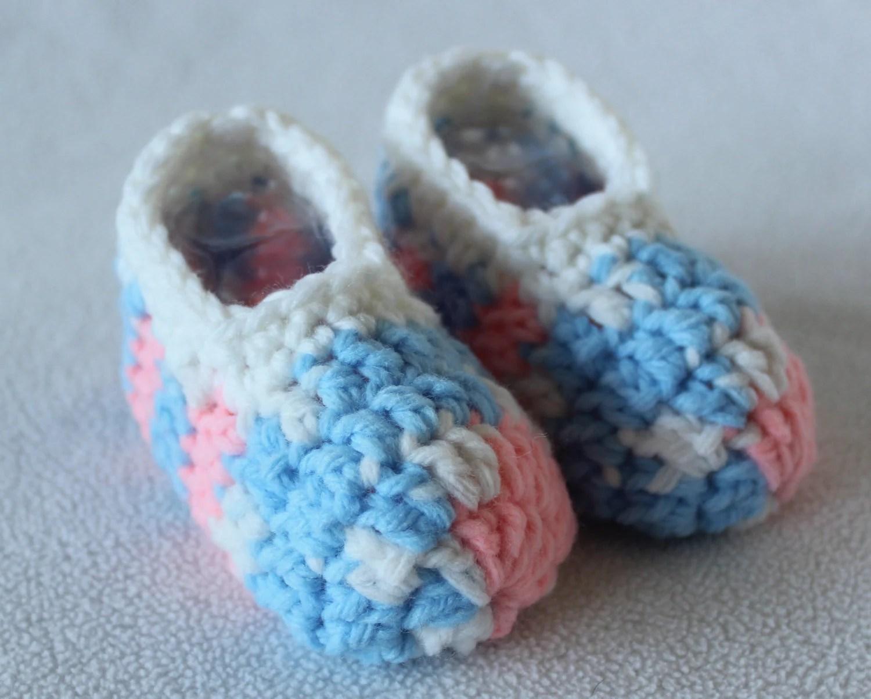 Pink, Blue and White Slipper Socks - Infant Baby Shower Gift - Boy or Girl - CostasCraftyCorner