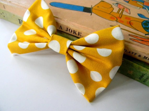 Maggie Mae. mustard yellow and white polkadot bow