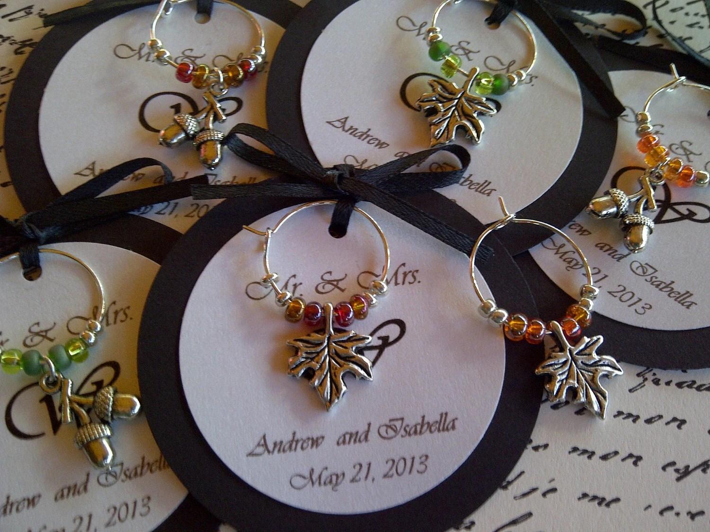 50-95 Custom Autumn Themed Wine Charm Favors Weddings