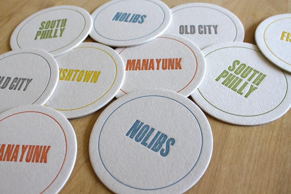 PHILADELPHIA Letterpress Neighborhood Coasters (Pack of 10) - moontreepress