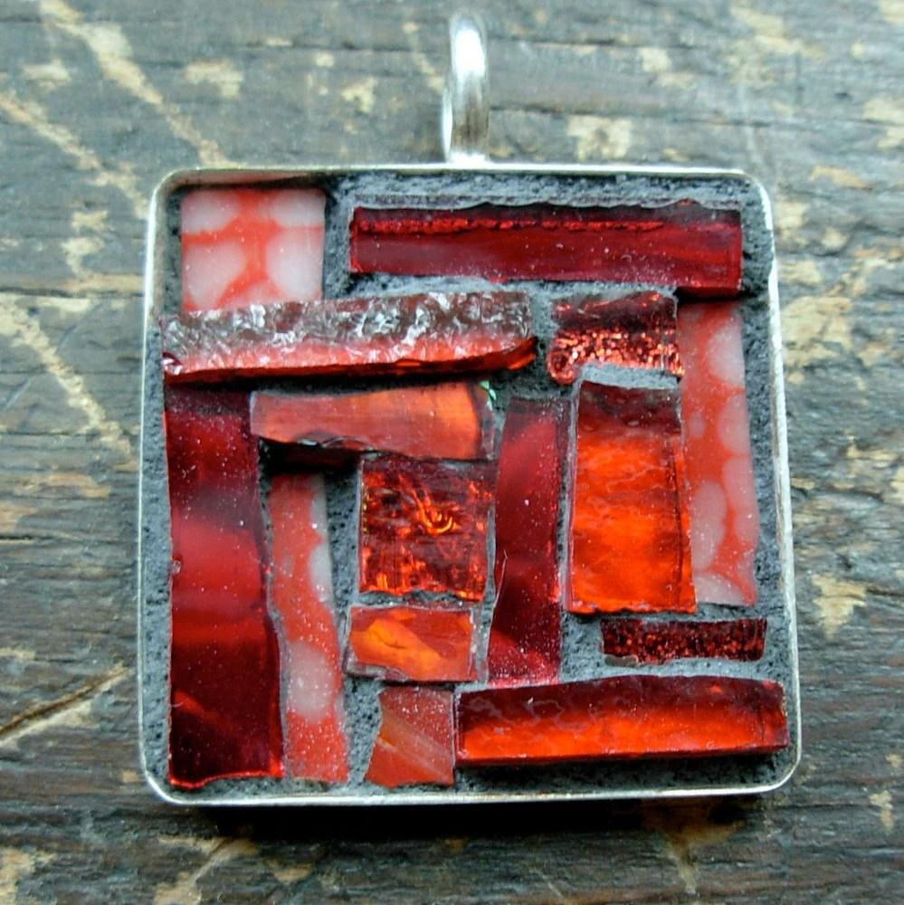 Red Square Mosaic Pendant