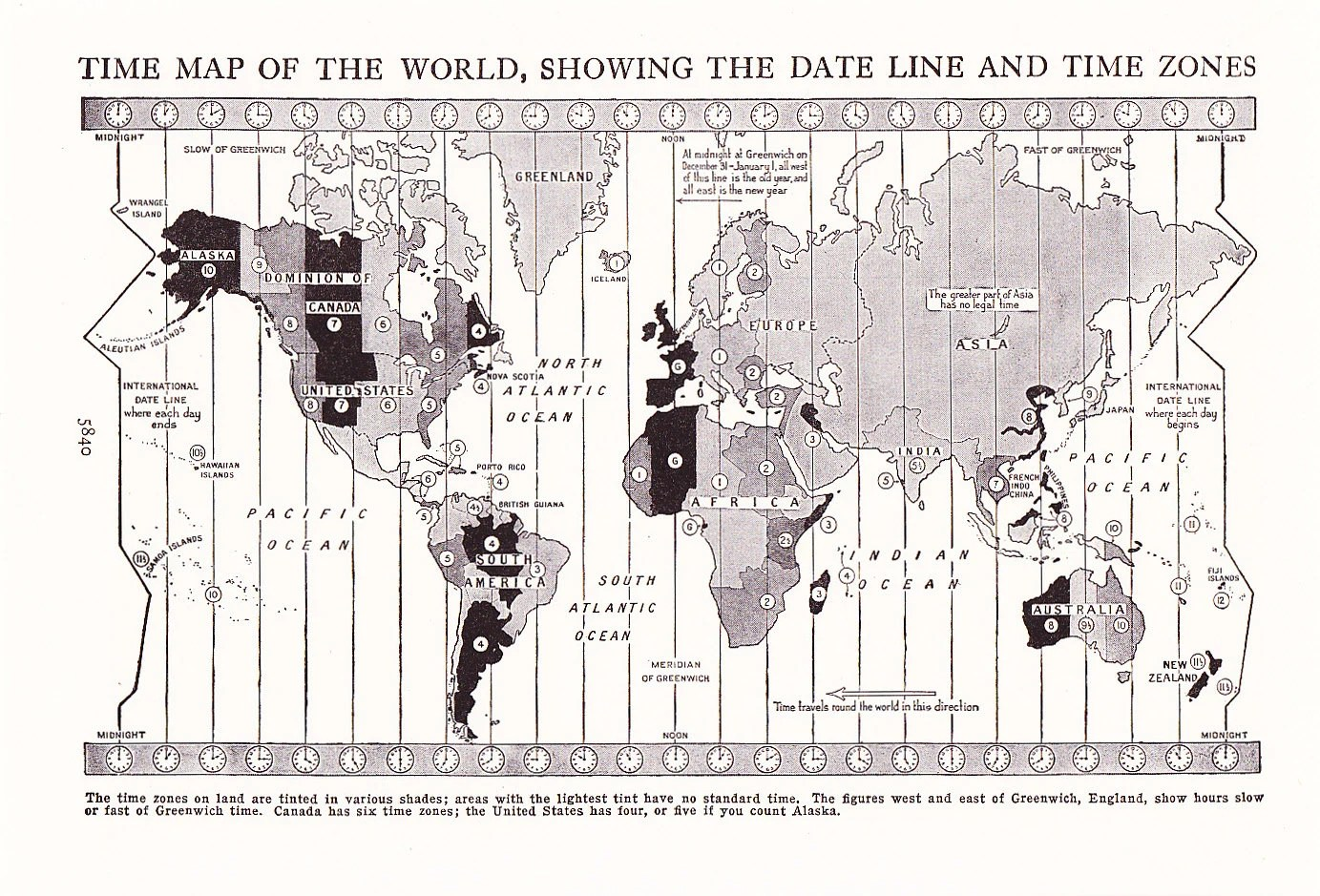 Map World Time Zones Vintage Antique Map Great For