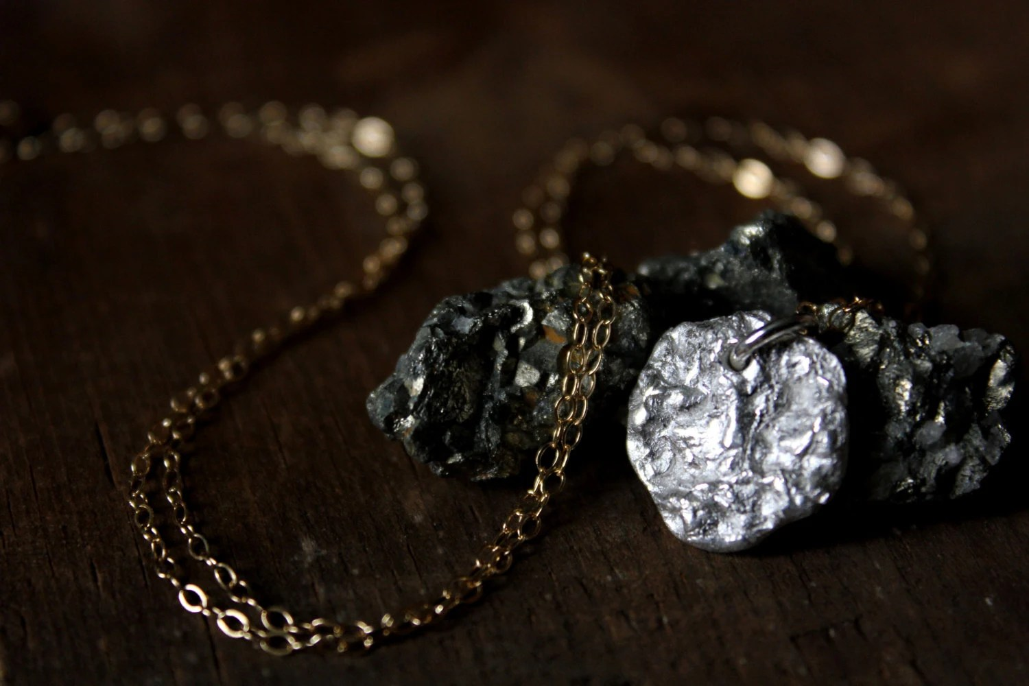Meteorite. Hand-forged Fine Silver Pendant Necklace. - cloven