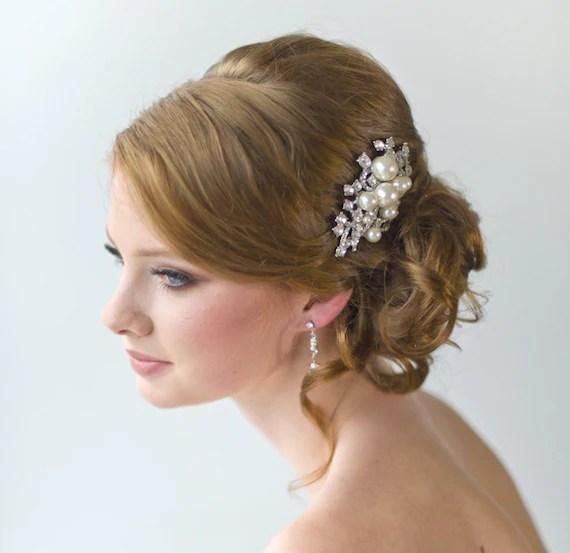 Items Similar To Pearl Amp Crystal Bridal Hair Comb Wedding