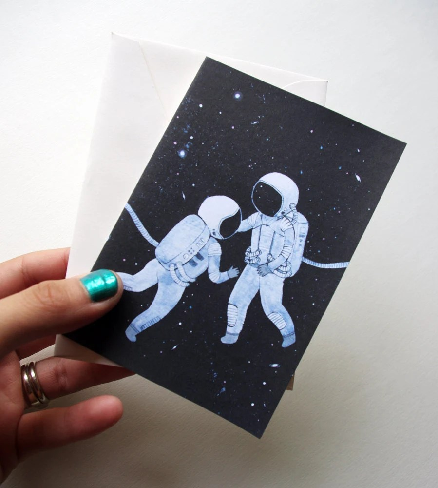 Chance Encounter cute little blank greeting card - gouache painting drawing sci fi themed