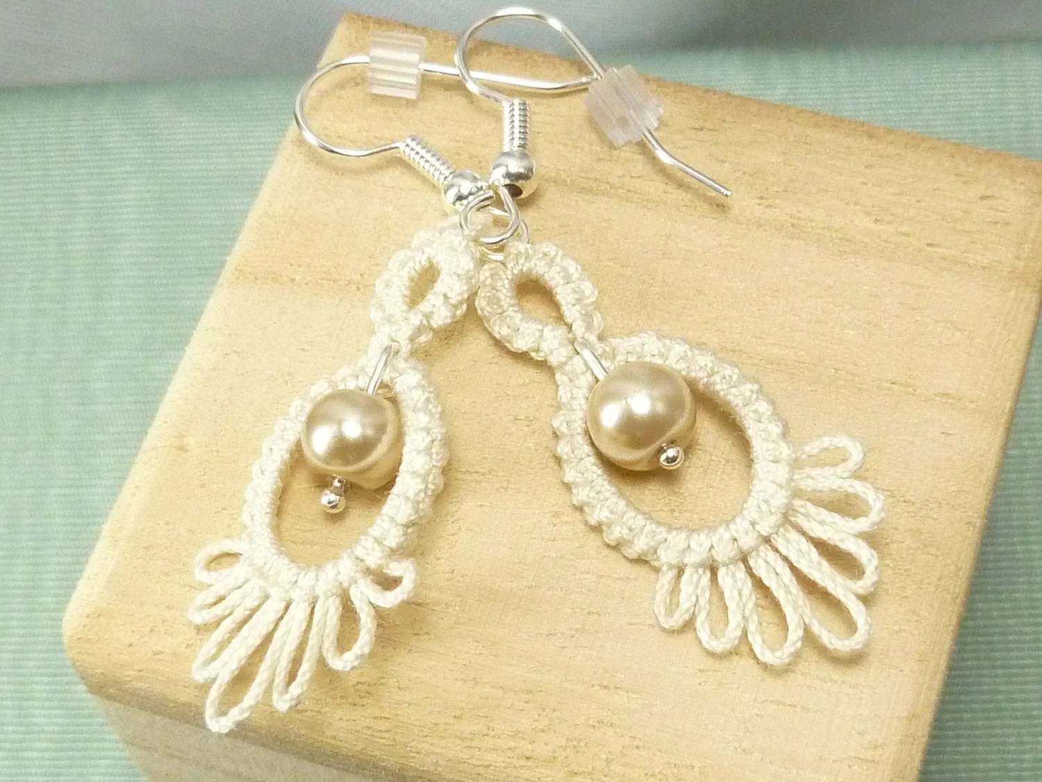Tatted Lace Earrings in creamy white with glass pearls -Frilly Drips -MTO