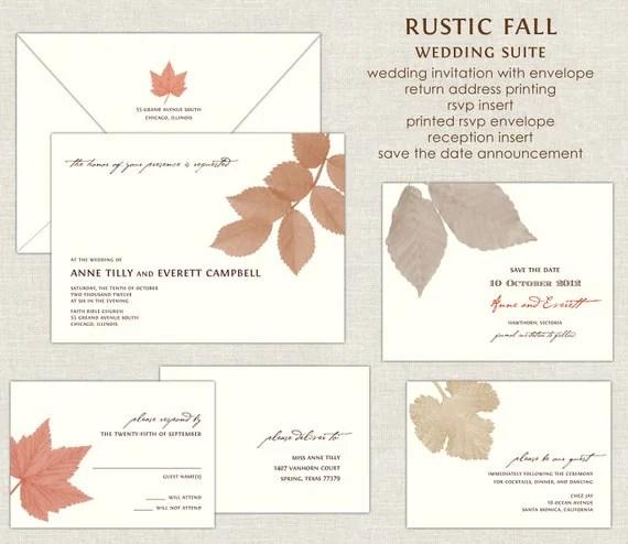Fall Wedding Invitations Etsy
