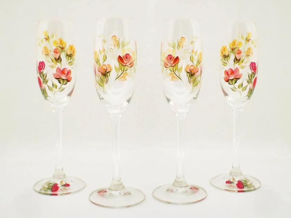 Painted Champagne Glasses - Autumn Roses of Red, Orange, Peach with Multi Color Leaves Set of 4 - CRYSTAL Glasses - Autumn Winter Wedding - HandPaintedPetals