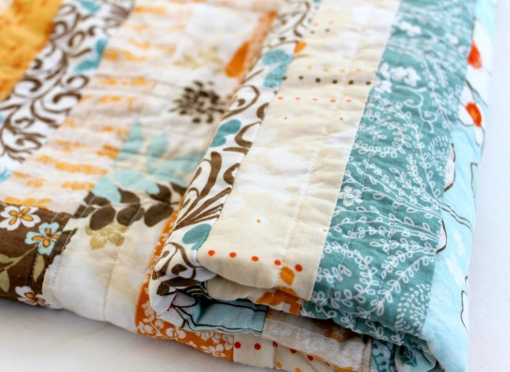 Baby Quilt, Orange Brown Blue, Modern, Gender Neutral