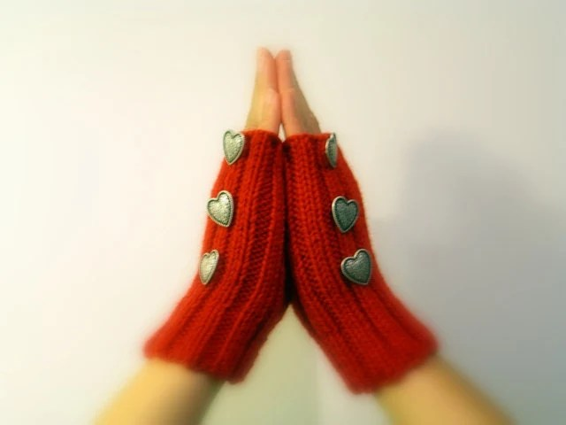Red Knitted Mittens, Valentine's Vegan Hand warmers, Fingerless Gloves, Silver Metal Heart Buttons - JustColor