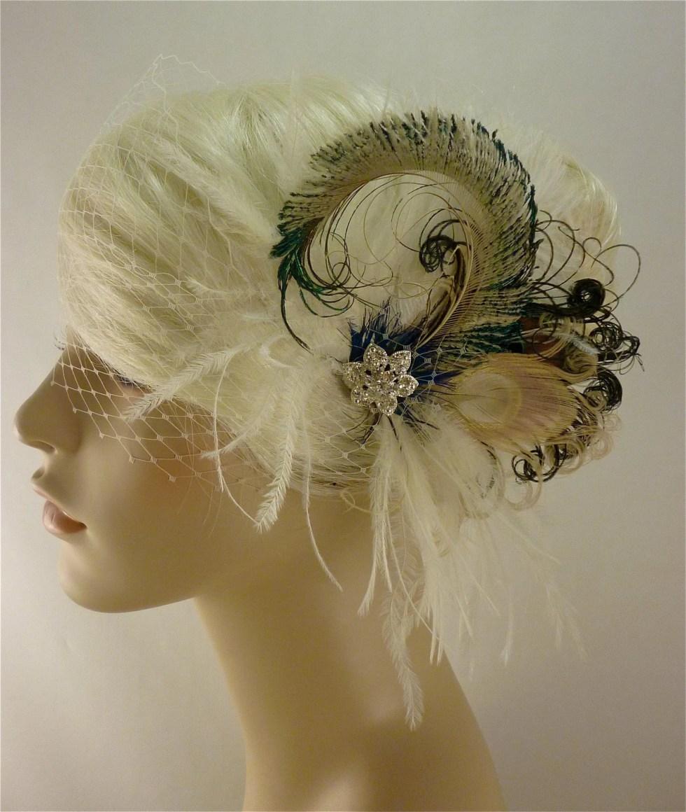 Feather Bridal Fascinator, Bridal Fascinator, Fascinator, Hair Clip, Bridal Headpiece, Wedding Veil, Bridal Veil- Rock On x 2 - Petite Size