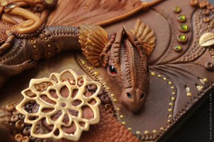 Honey Dragon Fantasy Steampunk Polymer Clay Dragon by Amandarinduck.etsy.com