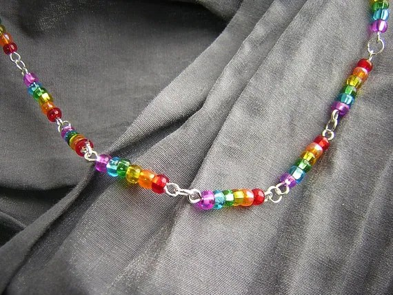 Rainbow and Silver Basically Beaded Necklace - Handmade by Rewondered D225N-24242 - $39.95