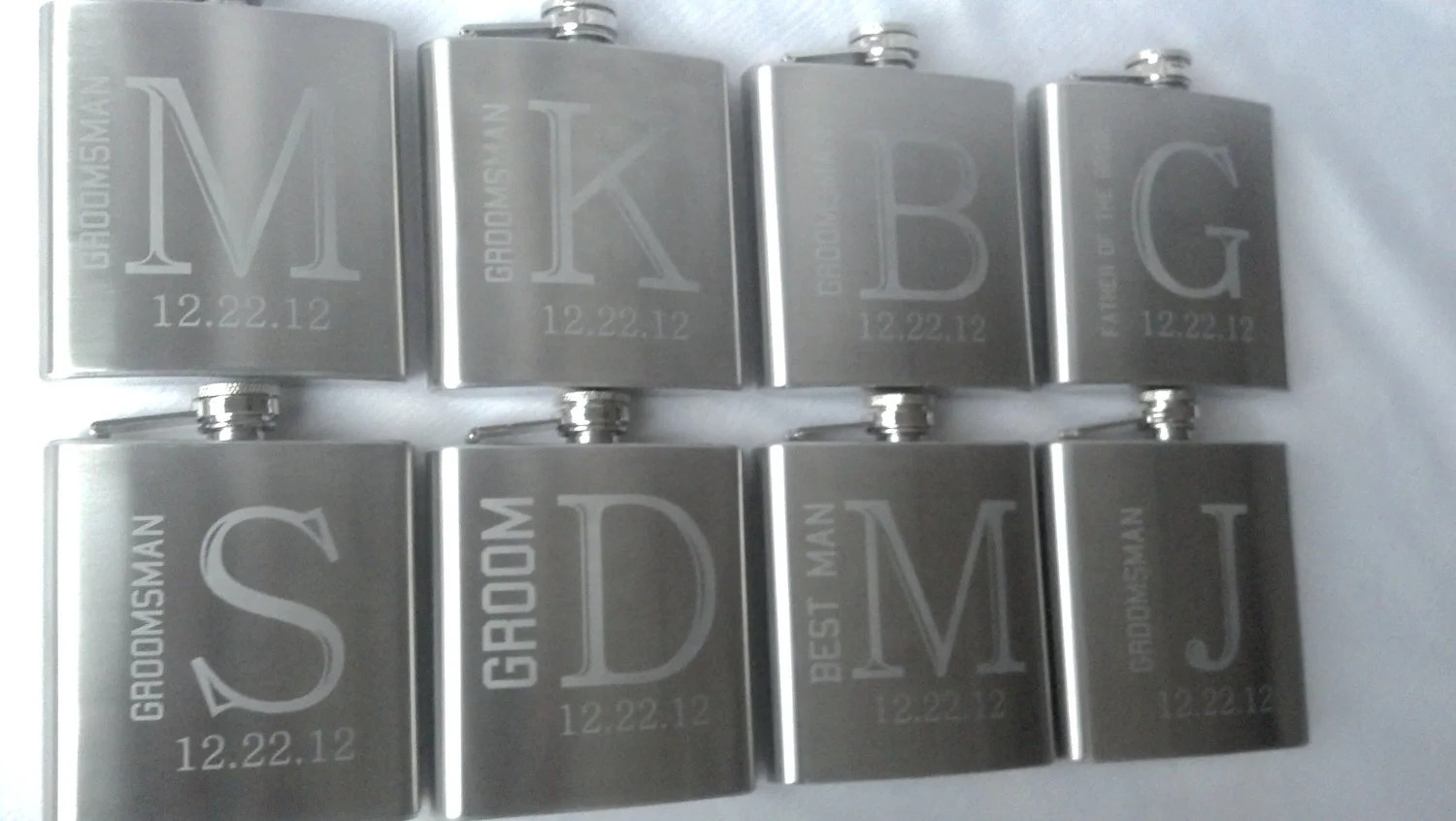 8 Etched Groomsman flask, 6 ounce, stainless steel personalized flask.  Groomsmen and Best Man gift