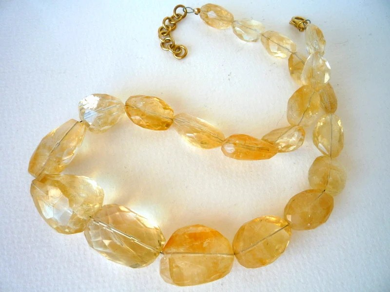 Citrine faceted  nuggets  semiprecious stones  necklace
