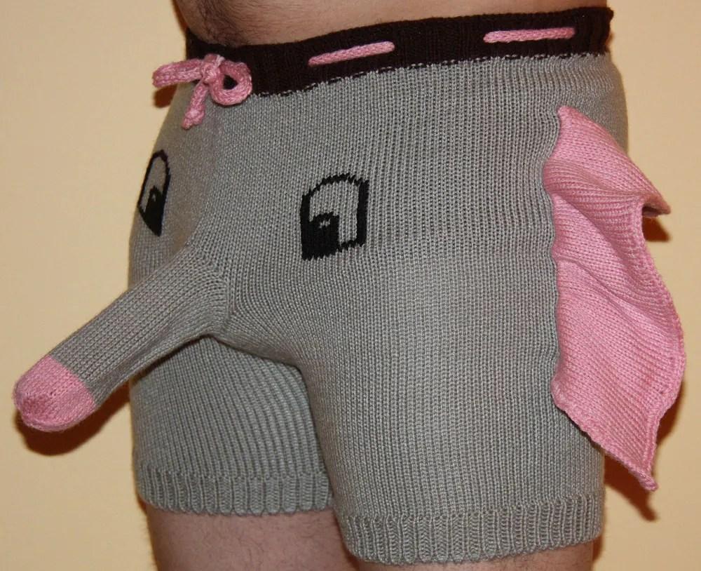 Vissible Penis Shorts Elephant Pattern
