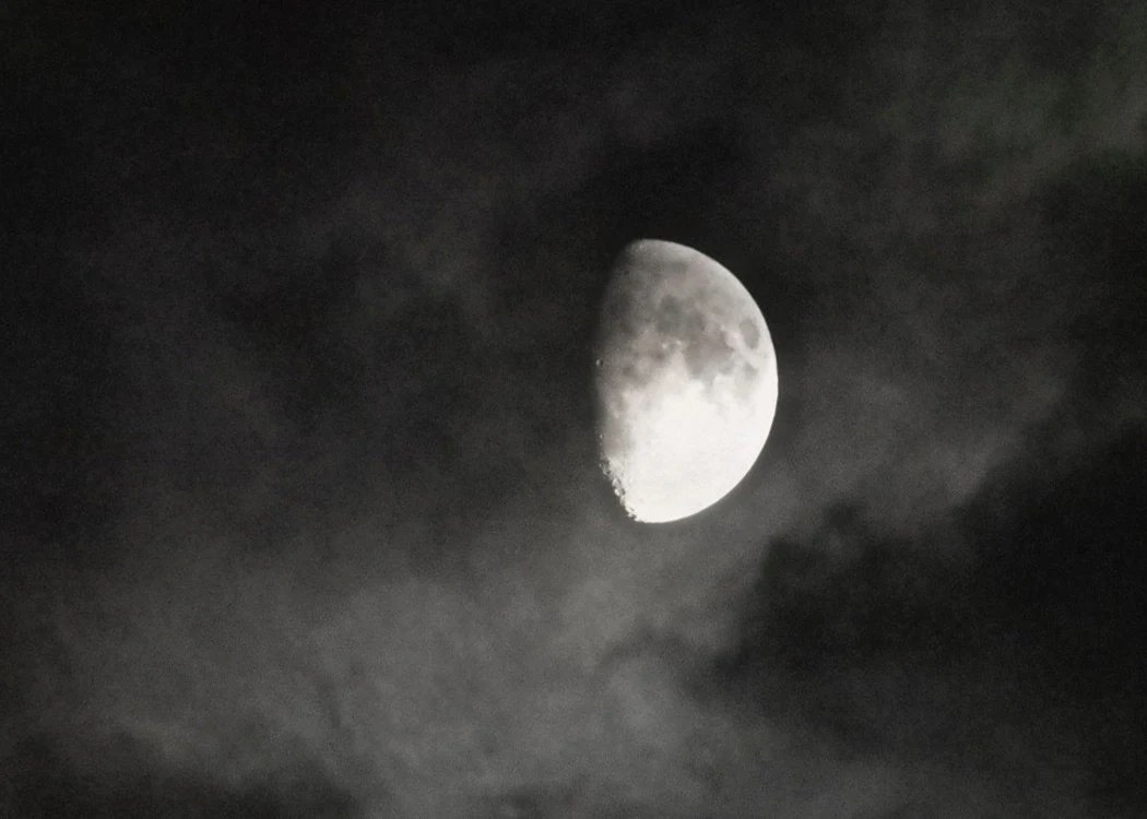 ACEO Moon Black and White Dark Night Glow Photography Print - LTphotographs