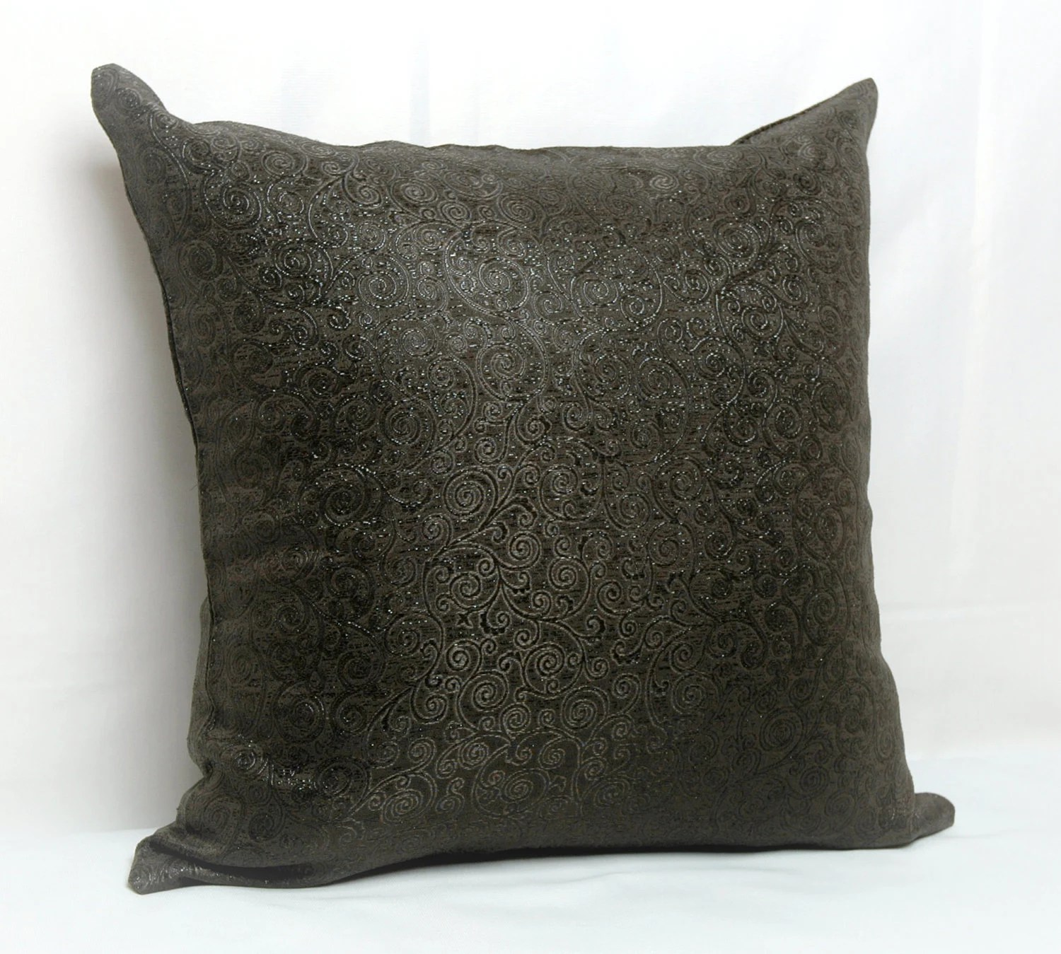 Dark Brown Floral Jacquard Brocades Shiny Decorative Pillow Case , Cushion Cover 16x16 inch , 18x18 inch - MyveraLinen