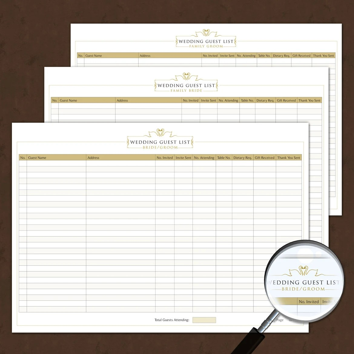 Wedding Guest List Template Interactive Printable Amp Fillable