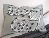 Light Grey Linen cushion (small) with hand-painted butterfly - gemmaclarkhome