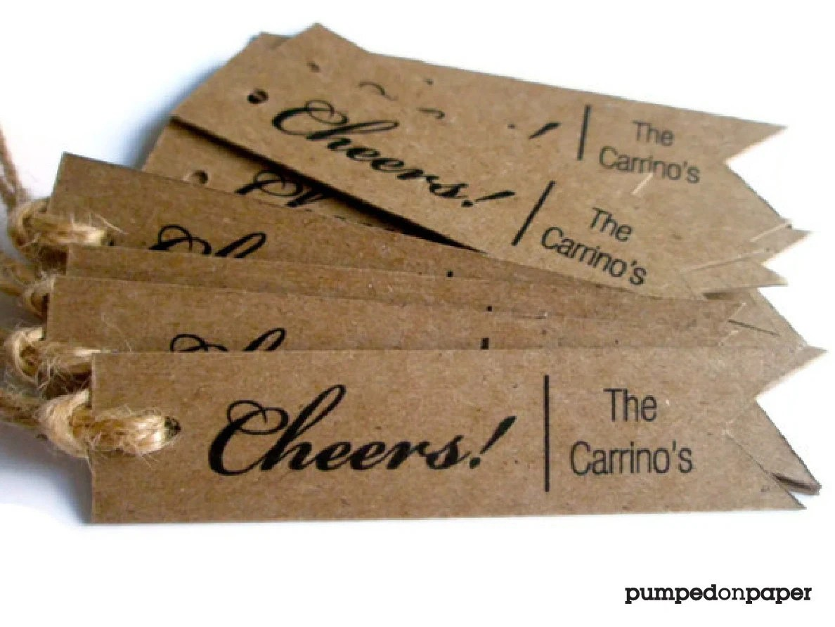 Cheers Personalized Gift Tags Custom Wedding Favor Tags