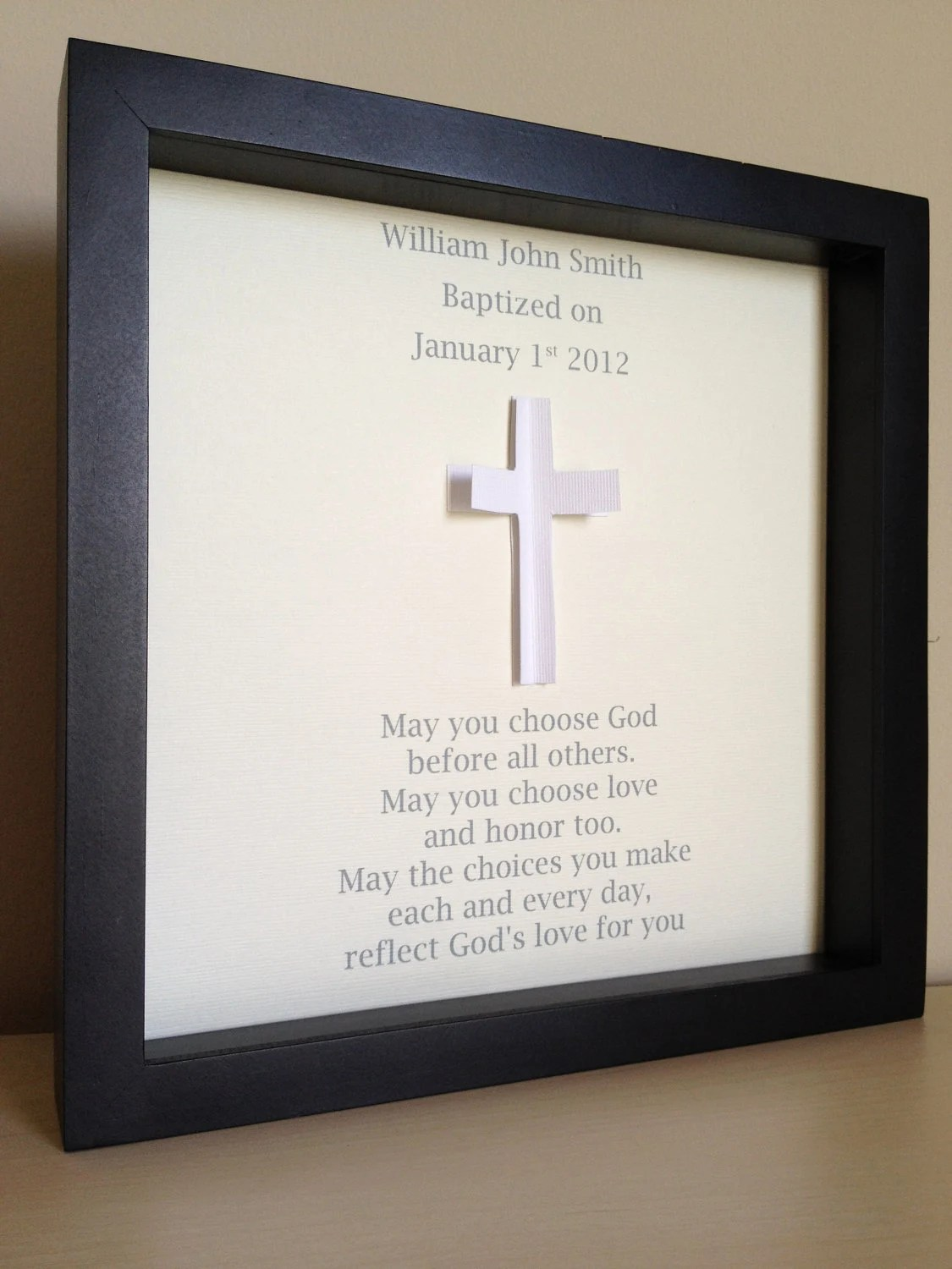 Baptism/Christening poem, 3d paper art, customize with your name and information, and colors
