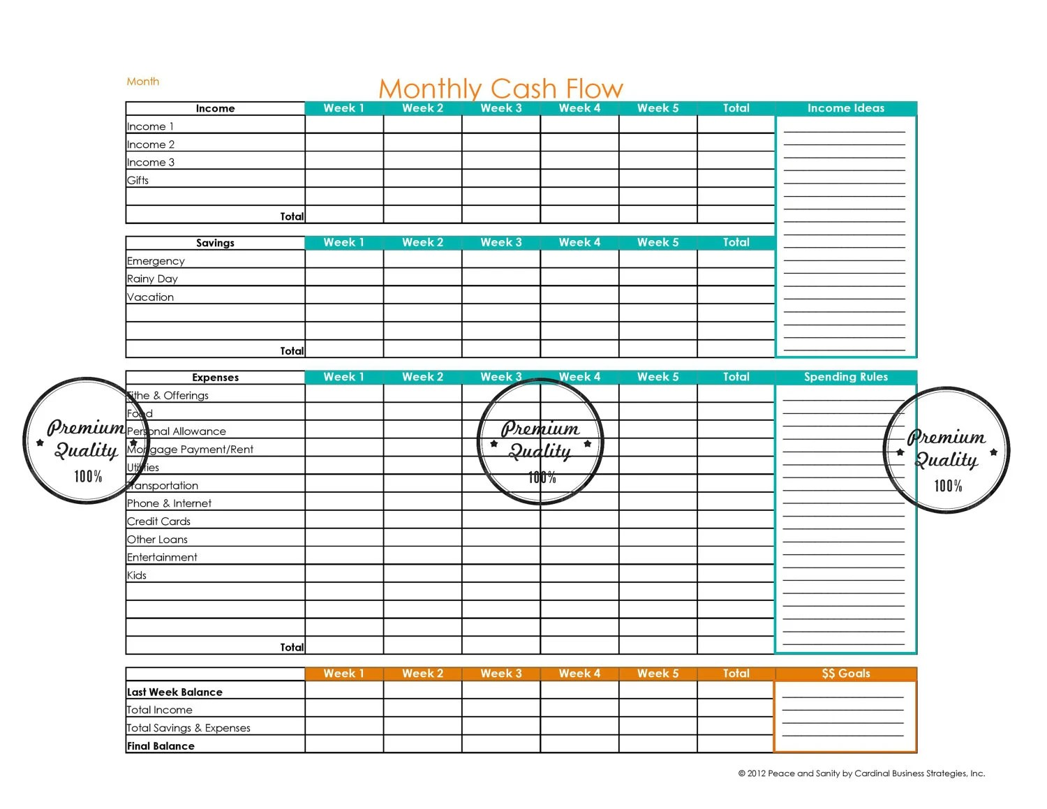 Monthly Budget Planner Cash Flow Printable By Peaceandsanity
