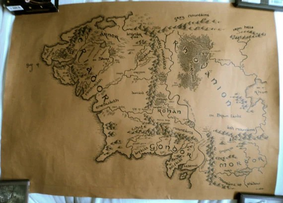 Items Similar To Handdrawn Map Of Middle Earth A2 Lord Of