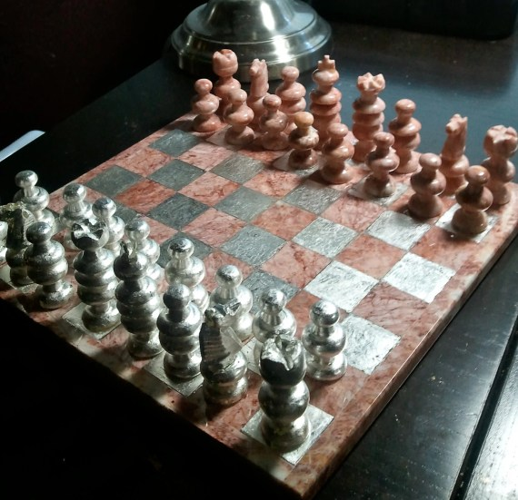 ON SALE 20% OFF: Pink Marble and Sterling Silver Chess Set - RavenGilding