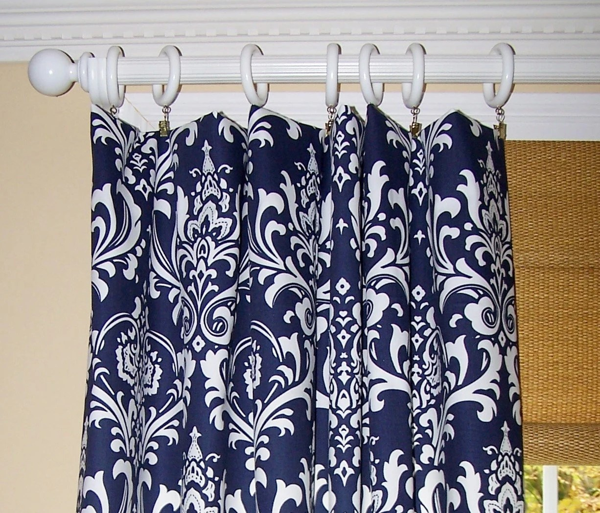 Navy Blue Fabric Shower Curtain