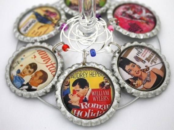 Audrey Hepburn movies wine charms Oscar party favors Hollywood breakfast at tiffany's drink tags.