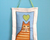 Lavender Sachet with Orange Ginger Tabby Cat Art, Handmade - SusanFayePetProjects
