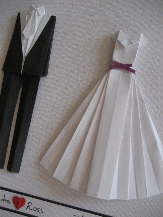 Items Similar To Bride And Groom Origami Outfit Wall Art Wedding Gift Paper Anniversary Gift