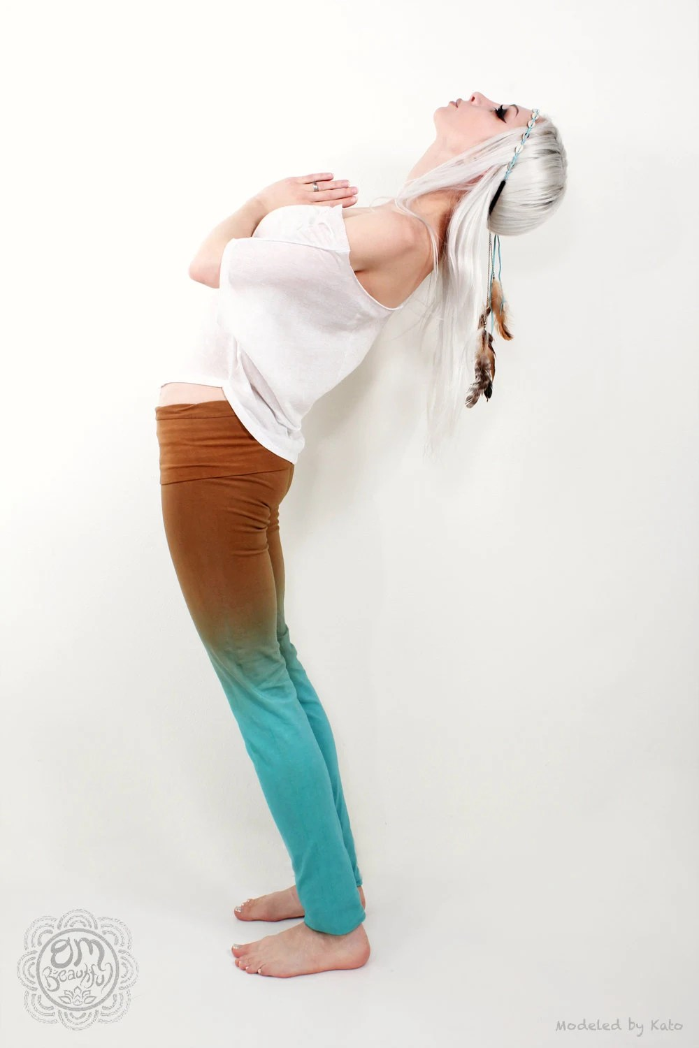 Teal Brown Yoga Pants Leggings Hand Dip Dyed - OmBeautiful