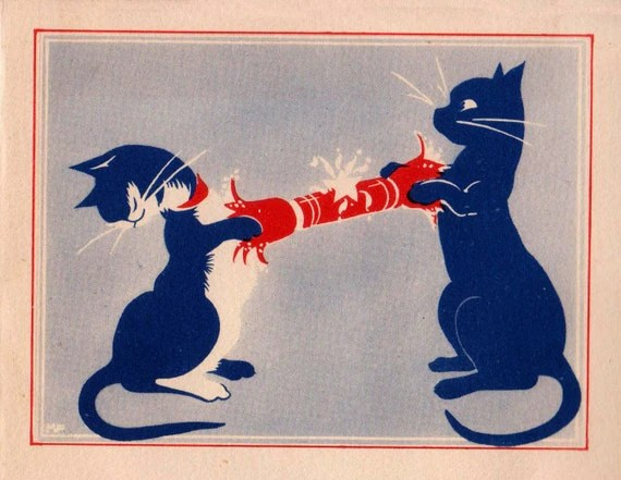 Vintage Art Deco 1930s Cats Pulling The Christmas Cracker