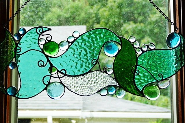 Whimsical Under The Sea Stained Glass Panel By Miloglass