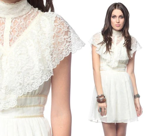 Lace Flutter Sleeve Dress 70s Mini Prairie Romantic By