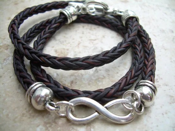 Infinity Bracelet Leather Bracelet Valentines Day Braided