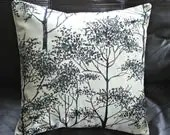 Silver birch pillow tree black charcoal cushion shams UK designer fabric  16 x 16  inch handmade