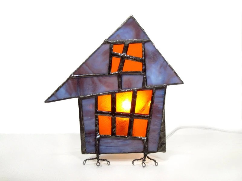 Lamp Stained Glass Night Light Halloween Decoration Purple Orange Goth Handmade OOAK - FleetingStillness