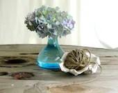 vintage blue bottle blue glass vase beach cottage - paperjar