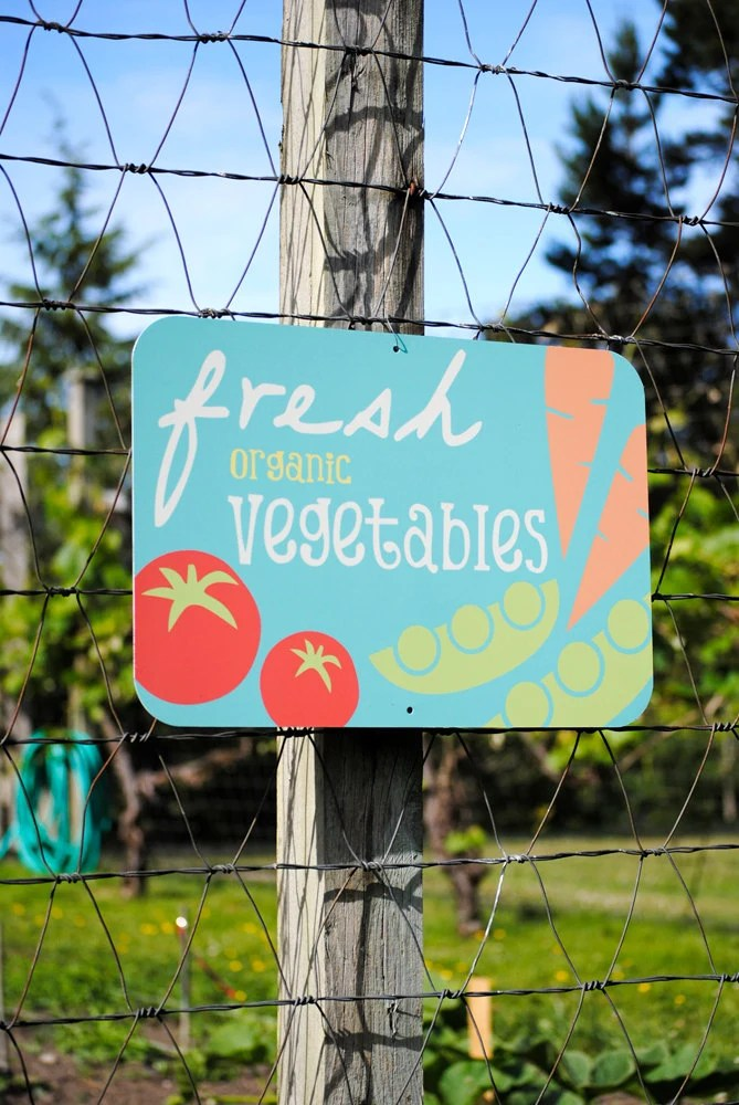 Fresh Organic Vegetables Aluminum Garden Sign - BainbridgeFarmGoods