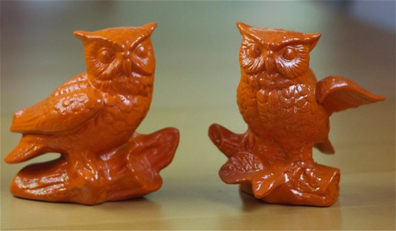 Sparkly Orange Owls - Set of 2 - Retro & Funky - RetroPops