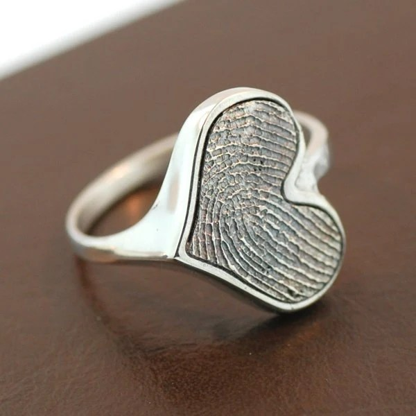Heart Personalized Fingerprint Sterling Silver Ring
