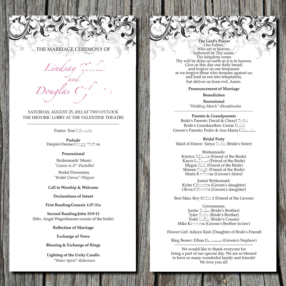 Items Similar To Simple Elegant Wedding Ceremony Program