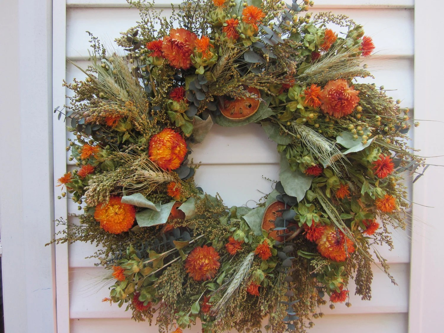 Large Fall Dried Flower Wreath Mixed Flowers In Autumn Colors