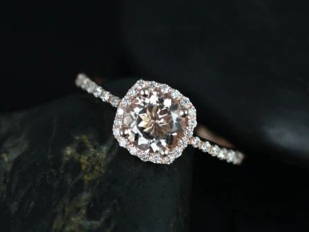 Barra Petite Size 14kt Rose Gold Thin Morganite and Diamond Cushion Halo Engagement Ring (Other metals and stone options available)