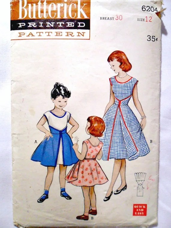 Vintage 1950's Girl's Teen's Junior Misses Walk-Away Dress Extremely Rare Sewing Pattern Butterick 6204 Size 12