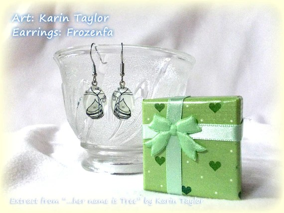"Glass Earrings - Cute little girl & bird from ""...her name is Tree"""