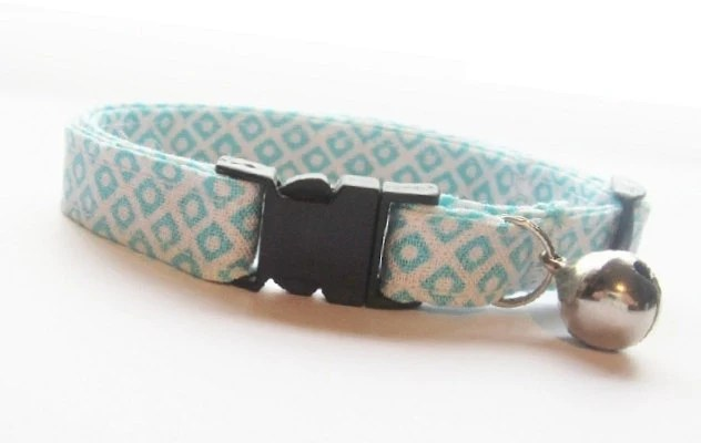 Cat Collar - Mini Dot-N-Square Aqua, Blue Cat Collar, Kitten Collar, Breakaway Cat Collar, NO.3
